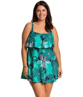 Penbrooke Plus Size Dot Petals Ruffle Swimdress