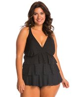 Penbrooke Plus Size Crochet Triple Tier Tankini Top