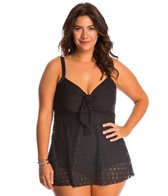 Penbrooke Plus Size Crochet Bow Front Fauxkini One Piece Swimsuit
