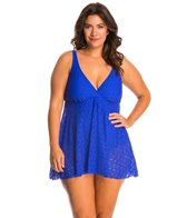 Penbrooke Plus Size Crochet Soft Cup Fly Away Swimdress