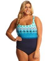 TYR Baltic Stripe Aqua Controlfit Plus Size One Piece Swimsuit