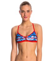 Speedo Champs & Stripes Printed Fixed Back Top