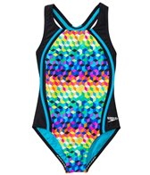 Speedo Girls' Illusion Cubes Sport Splice One Piece Swimsuit (7yrs-16yrs)