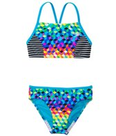Speedo Girls' Illusion Cubes Splice Camkini Two Piece Swimsuit (7yrs-16yrs)