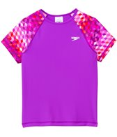 Speedo Girls' Printed Short Sleeve Rashguard (7yrs-16yrs)