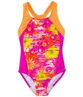 Speedo Girls' Fractured Floral Side Splice One Piece (7yrs-16yrs)