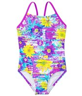 Speedo Girls' Fractured Floral Keyhole One Piece Swimsuit (7yrs-16yrs)