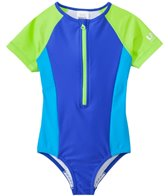 Speedo Girls' Short Sleeve Zip One Piece Swimsuit (4yrs-6X)