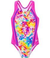 Speedo Girls' Tie Dye Splash Sport Splice One Piece Swimsuit (4yrs-6X)
