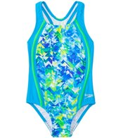 Speedo Girls' Tie Dye Splash Sport Splice One Piece Swimsuit (4yrs-6X)