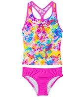 Speedo Girls' Tie Dye Splash Keyhole Tankini Two Piece Swimsuit (4yrs-6X)