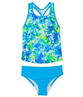 Speedo Girls' Tie Dye Splash Keyhole Tankini Two Piece Swimsuit (4yrs-6X)