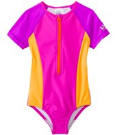 Speedo Girls' Short Sleeve Zip One Piece Swimsuit (7yrs-16yrs)