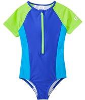 Speedo Girls' Short Sleeve Zip One Piece Swimsuit (7yrs-16yrs)