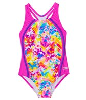 Speedo Girls' Tie Dye Spalsh Sport Splice One Piece (7yrs-16yrs)