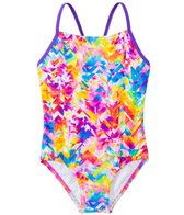 Speedo Girls' Tie Dye Splash Keyhole One Piece Swimsuit (7yrs-16yrs)