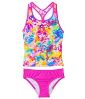 Speedo Girls' Tie Dye Splash Keyhole Tankini Two Piece Swimsuit (7yrs-16yrs)