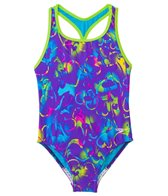 Speedo Girls' Neon Love Keyhole Thick Strap One Piece Swimsuit (7yrs-16yrs)