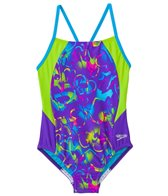 Speedo Girls' Neon Love Split Splice One Piece Swimsuit (7yrs-16yrs)