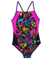 Speedo Girls' Neon Love Split Splice One Piece Swimsuit (7yrs-16yrs)