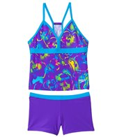 Speedo Girls' Neon Love Boyshort Two Piece Swimsuit (7yrs-16yrs)