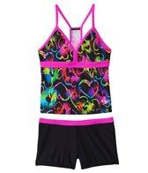 Speedo Girls' Neon Love Boyshort Two Piece Swimsuit (7yrs-16yrs)