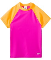 Speedo Girls' Colorblock UPF 50+ Short Sleeve Rashguard (7yrs-16yrs)
