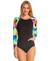 Anne Cole Women's Snow Cone Front Zip L/S Rash Guard
