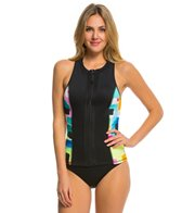 Anne Cole Women's Snow Cone Zip Front Sleeveless Rash Guard