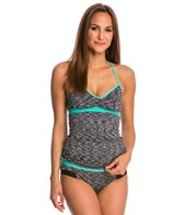 Anne Cole Women's Heather Colorblock Elastic Crossback Tankini Top