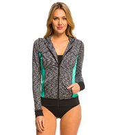 Anne Cole Women's Heather Colorblock Elastic L/S Hoodie Jacket