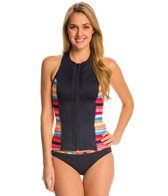 Anne Cole Women's Running Stripe Front Zip Rashkini Top