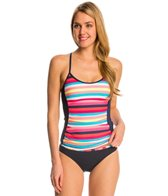 Anne Cole Women's Running Stripe Crossback Tankini Top
