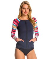 Anne Cole Women's Running Stripe L/S Rashkini Cover Up