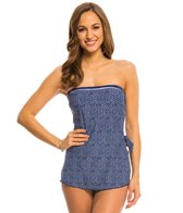 Maxine Ditzy Dot Bandeau Sarong One Piece Swimsuit