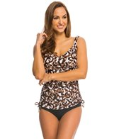 Maxine Cougar Side Shirred Underwire Tankini Top (D/DD Cup)