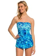 Maxine Bali Escape Bandeau Faux Sarong One Piece Swimsuit