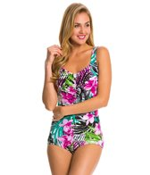 Maxine Tropic Dreams Shirred Front Girl Leg One Piece Swimsuit