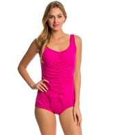Maxine Spa Solid Shirred Girl Leg One Piece Swimsuit