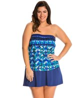 Maxine Plus Size Geo Days Bandeau Faux Skirtini One Piece Swimsuit