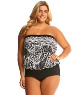 Maxine Plus Size Tribal Beat Bandeau Blouson Mio One Piece Swimsuit