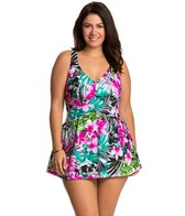 Maxine Plus Size Tropic Dreams Empire Swimdress