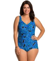 Maxine Plus Size Casa Blanca Shirred Front Girl Leg One Piece Swimsuit