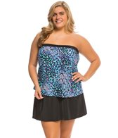 Maxine Plus Size Serengeti Bandeau Faux Skirtini One Piece Swimsuit