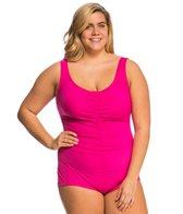 Maxine Plus Size Spa Solid Shirred Girl Leg One Piece Swimsuit