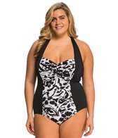 Anne Cole Plus Size Antiqua Shirred Halter One Piece Swimsuit