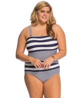 Anne Cole Plus Size Rugby Stripe Splice Bandeau One Piece Swimsuit