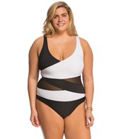 Anne Cole Plus Size Mesh OTS Splice One Piece Swimsuit