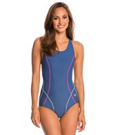 Champion Women's Body Mapped Racer Tank One Piece Swimsuit