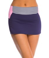 Anne Cole Rugby Stripe High Waist Swim Skort